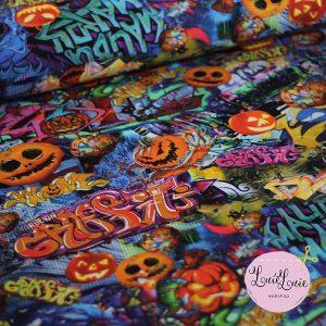 Stof med halloween print_bommuldsjersey