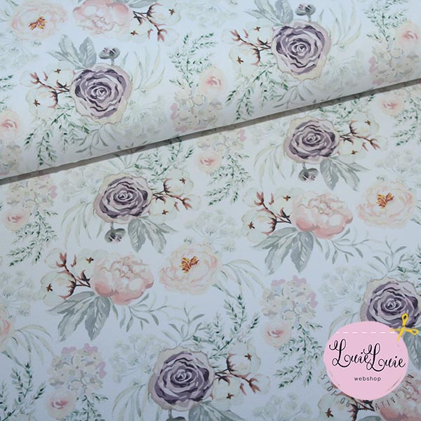 8e7789ac6 Cotton jersey with flowers in delicate colours