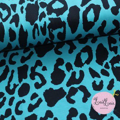 Bomuldsjersey med leopardprint i turkis
