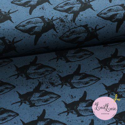 Bomuldsjersey med hajer i jeansblå