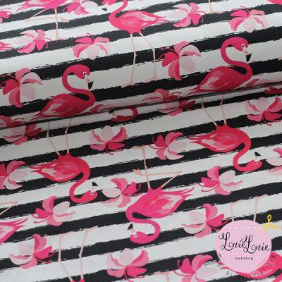 Bomuldsjersey med flamingoer
