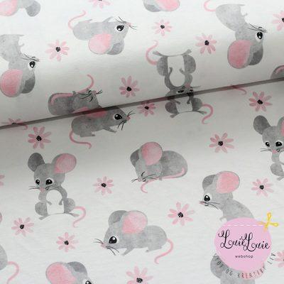 Bomuldsjersey med mus på hvid bund