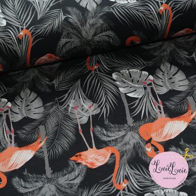 Bomuldsjersey med flamingo på sort bund