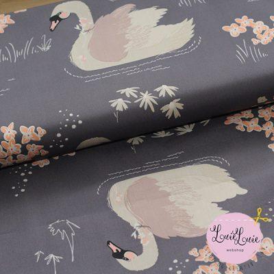 Art Gallery Fabrics – Dabbling Swan Plum (fast bomuld)
