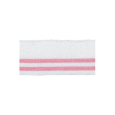 Rib, råhvid med rosa striber – 45 x 110 mm