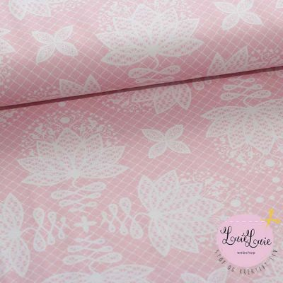 Bomuldsjersey med lotus-print i rosa