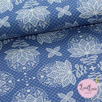 Bomuldsjersey med lotus-print i blå