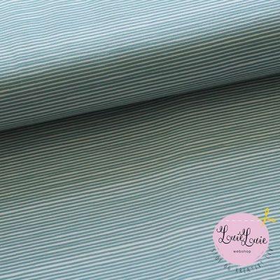 Bomuldsjersey med striber i hvid og sart grøn