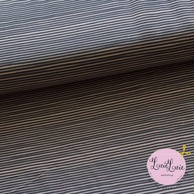Bomuldsjersey med striber i rosa og grå