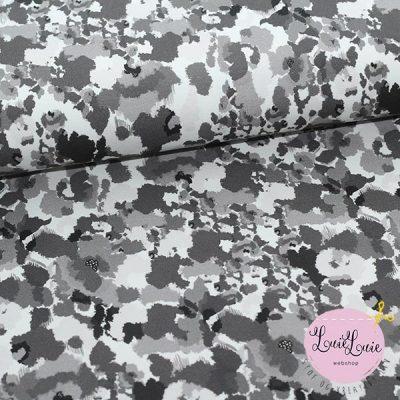Bomuldsjersey med sort/hvid mønster