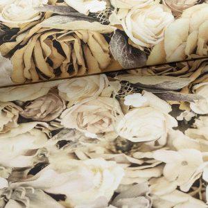 Bomuldsjersey med blomster i sarte nuancer (rest 60 cm)