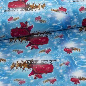 Bomuldsjersey med julemanden i sin kane : GOTS