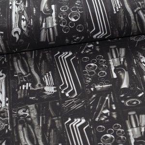 Bomuldsjersey med værktøj i sort/hvid : GOTS