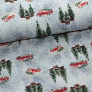 Bomuldsjersey med bobler og juletræer
