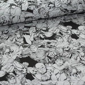 Bomuldsjersey med Superhelte i sort/hvide nuancer