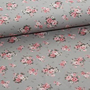 Bomuldsjersey med roser på grå bund